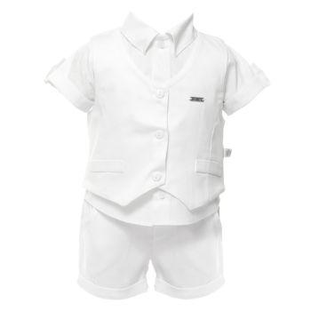 Vestido para Batizado Beth Bebê Maria Flor Luxo Branco
