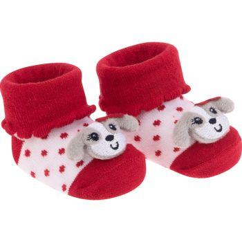 Meia Bichinho Pimpolho Recém-Nascido Cachorrinha Vermelha