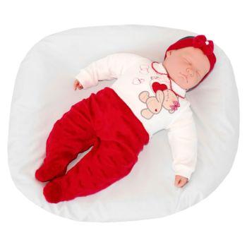 Macacão Longo Pupi Baby Menina Ursinha Apaixonada Vermelho Modelo