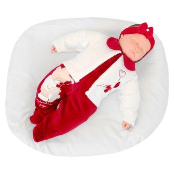 Macacão Longo Pupi Baby Menina Ursinhas Corações Vermelho Modelo