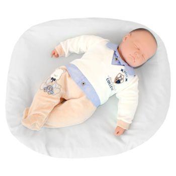 Macacão Longo Pupi Baby Menino Ursinho College Azul e Creme Conjunto