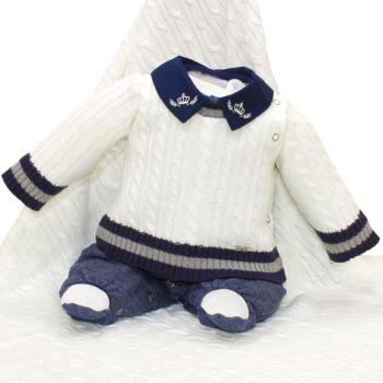 Saída de Maternidade Beth Bebê Tricô Miguel Luxo Off White