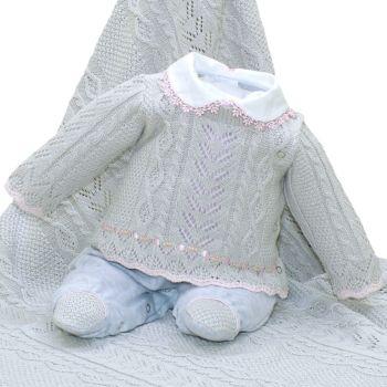 Saída de Maternidade Beth Bebê Tricô Luxo Maitê Cinza Mescla