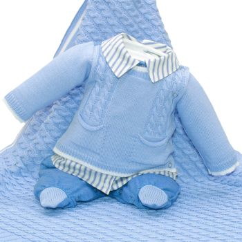 Saída de Maternidade Beth Bebê Bernardo Tricô Luxo Azul Bebê