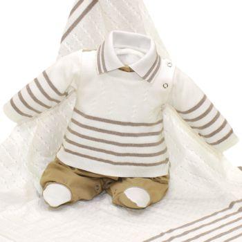Saída de Maternidade Beth Bebê Tricô Suedine Luxo Cáqui