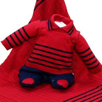 Saída de Maternidade Beth Bebê Tricô Suedine Luxo Vermelho