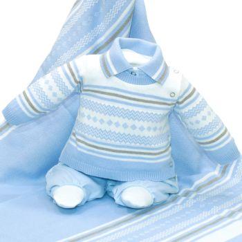 Saída de Maternidade Beth Bebê Matheus Tricô Luxo Azul Claro
