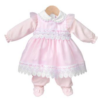 Macacão Longo e Vestido Beth Bebê Maria Clara Luxo Rosa