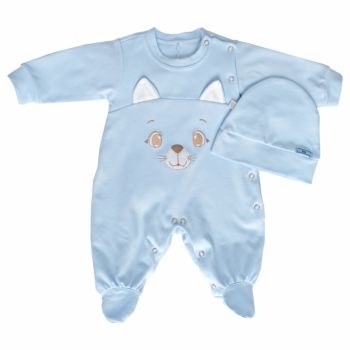 Macacão Longo Beth Bebê Gatinho Bordado com Touca Azul Claro