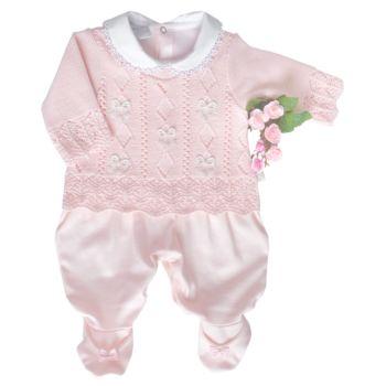 Macacão Longo Beth Bebê Ana Júlia Tricô Luxo Rosa Claro
