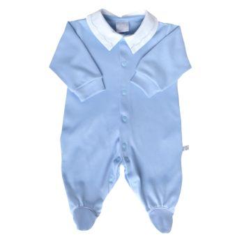 Macacão Longo Beth Bebê Jujuba Suedine com Gola Azul Claro