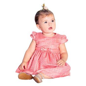 Vestido Infantil Paraiso Jacquard com Cinto de Cetim Coral Modelo