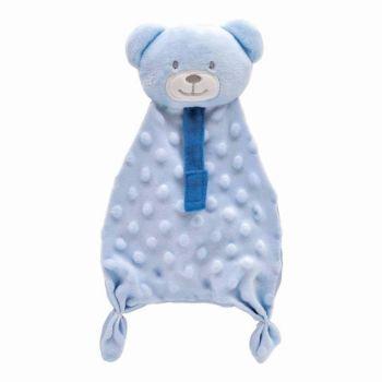 Naninha para Bebê Buba Ursinho com Prendedor de Chupeta Azul