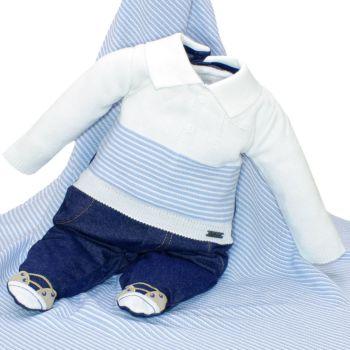 Saída de Maternidade Fofinho Bernardo Tricô e Denim Azul