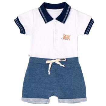 Conjunto para Bebê Fofinho Fabiano Body e Shorts Branco