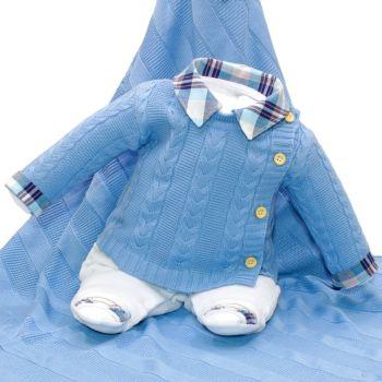 Saída Maternidade Fofinho Isaías Plush e Tricô Azul Claro