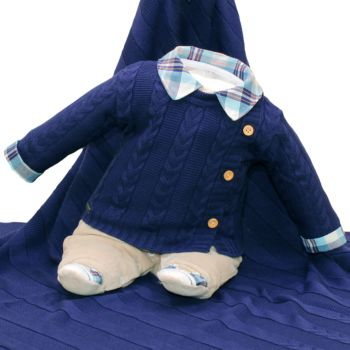 Saída Maternidade Fofinho Isaías Plush e Tricô Azul Marinho