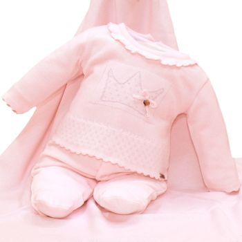 Saída Maternidade Fofinho Eloá Plush e Tricô Rosa Claro
