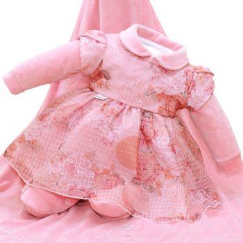 Saída Maternidade Fofinho Luana Plush e Tule Estampado Rosa