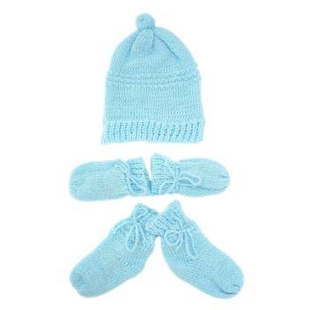 Kit Touca, Luvas e Sapatinho Tamine Tricô Azul Bebê