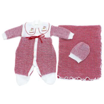Saída de Maternidade Tamine 3 Peças Tricô Especial Vermelho
