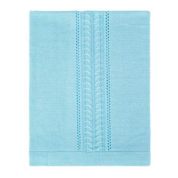 Manta Tricô Tamine Luxo Especial Trança Azul Bebê