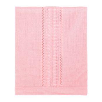 Manta Tricô Tamine Luxo Especial Trança Rosa Bebê