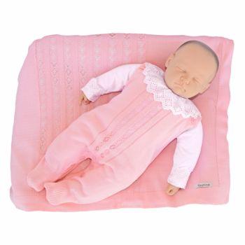 Saída de Maternidade Tamine 3 Peças Tricô Antonella Rosa