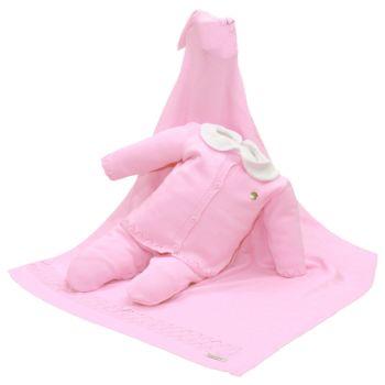 Saída de Maternidade Tamine 4 Peças Tricô Leque Rosa Bebê