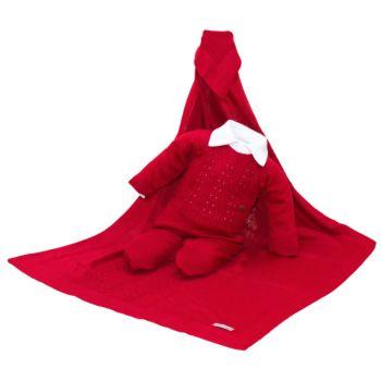 Saída de Maternidade Tamine 3 Peças Tricô Raízes Vermelho