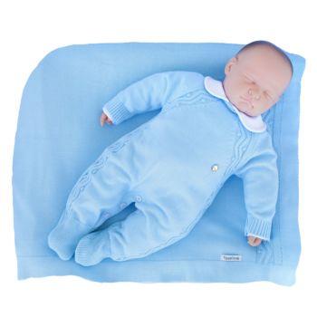 Saída de Maternidade Tamine 3 Peças Tricô Bolotas Azul Bebê