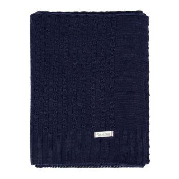 Manta Cobertor de Berço Tricô Tamine Luxo Azul Marinho