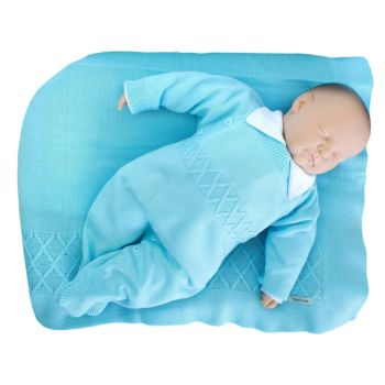 Saída de Maternidade Tamine Masculina 3Peças Tricô Azul Bebê Conjunto