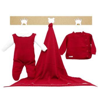 Saída de Maternidade Tamine Feminina 4 Peças Tricô Vermelho