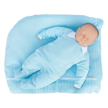 Saída de Maternidade Tamine 4 Peças Tricô Luxo Azul Claro