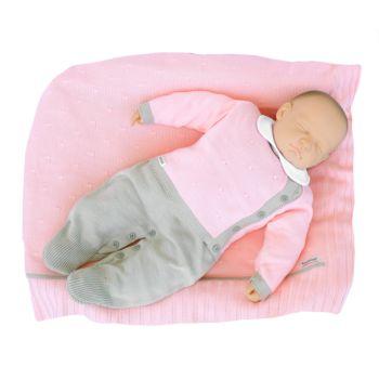 Saída de Maternidade Tamine Feminina 4 Peças Tricô Rosa