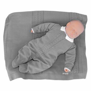 Saída de Maternidade Tamine 3 Peças Tricô Trança Cinza