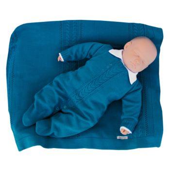 Saída de Maternidade Tamine 3 Peças Tricô Trança Azul Jeans
