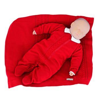 Saída de Maternidade Tamine 3 Peças Tricô Trança Vermelho